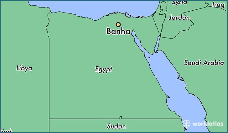 map showing the location of Banha