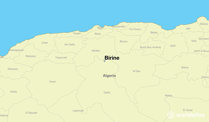 map showing the location of Birine