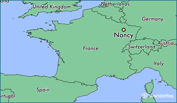 map showing the location of Nancy