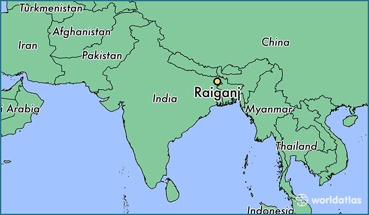 map showing the location of Raiganj