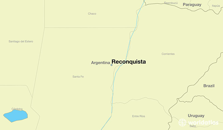 map showing the location of Reconquista