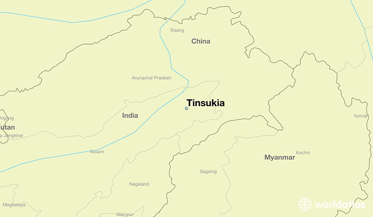 map showing the location of Tinsukia