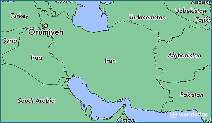 map showing the location of Orumiyeh