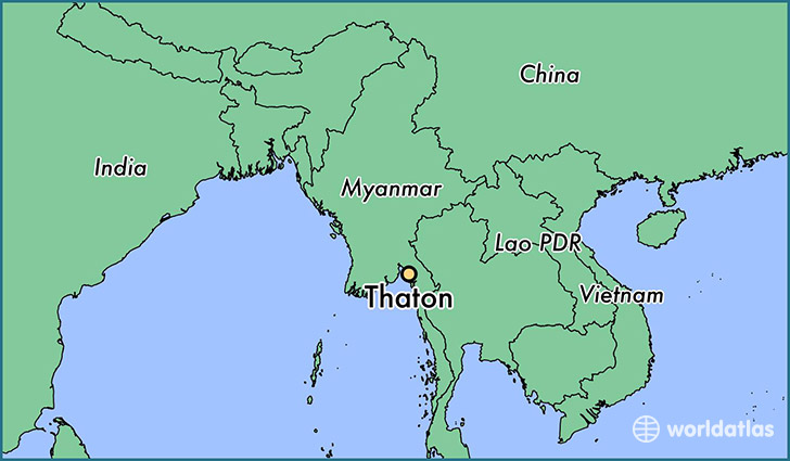 map showing the location of Thaton