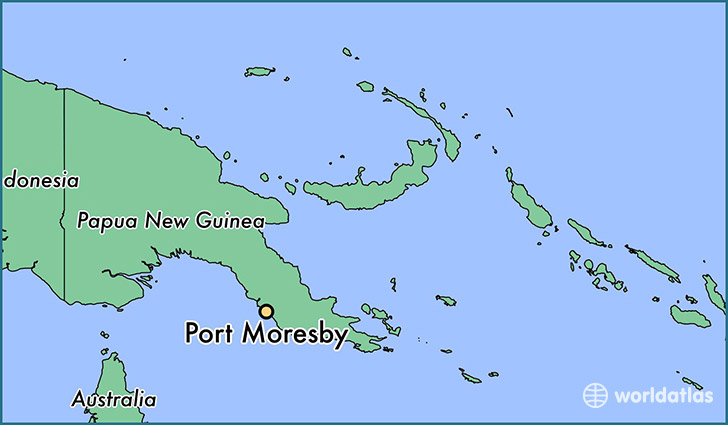 map showing the location of Port Moresby