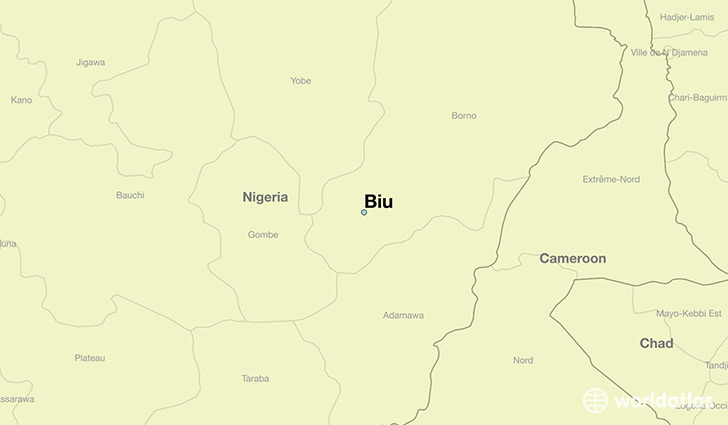 map showing the location of Biu