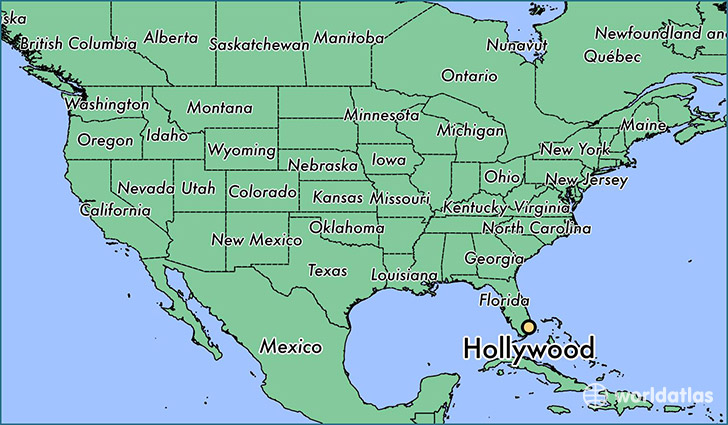 hollywood florida on florida map