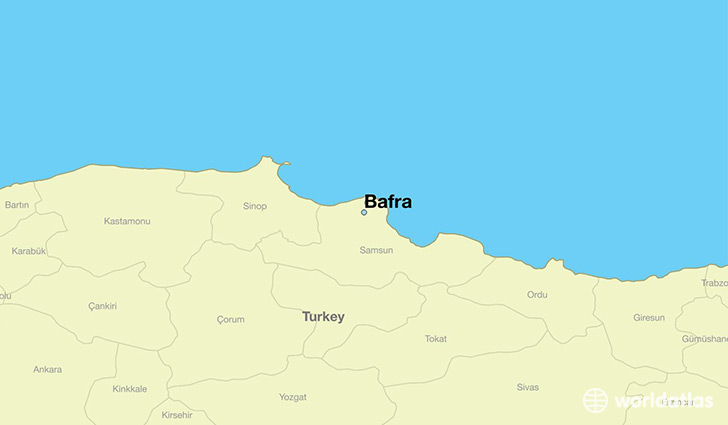 map showing the location of Bafra