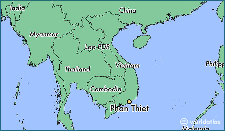 map showing the location of Phan Thiet