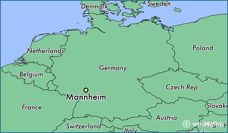 map showing the location of Mannheim