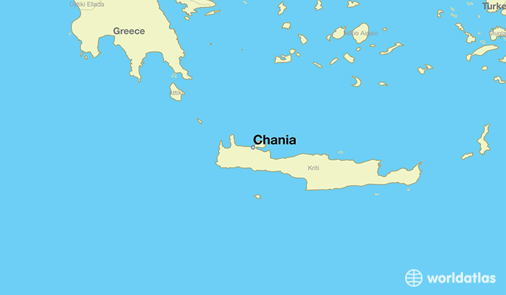 map showing the location of Chania