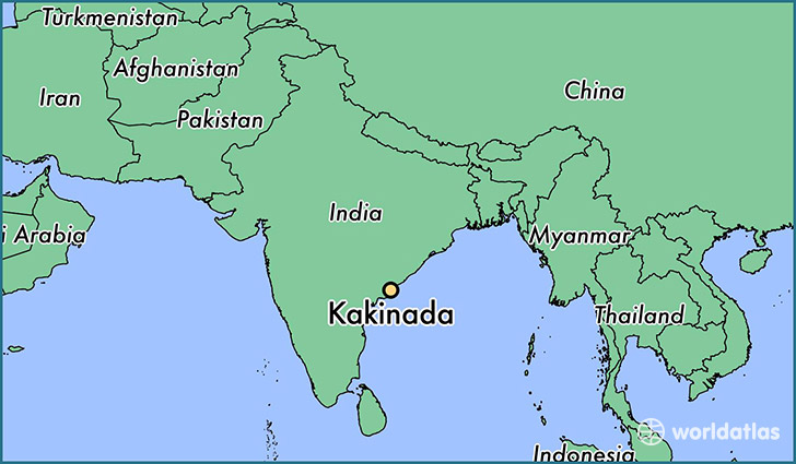 map showing the location of Kakinada