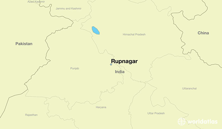 map showing the location of Rupnagar