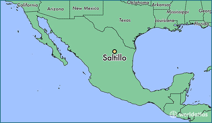 map showing the location of Saltillo