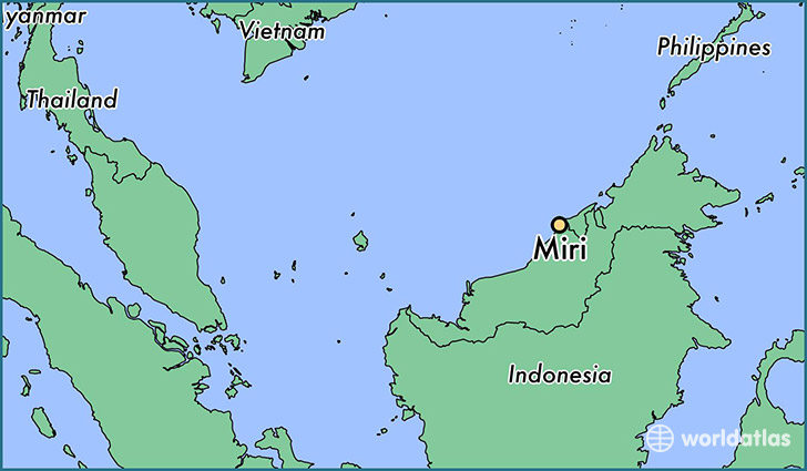 map showing the location of Miri