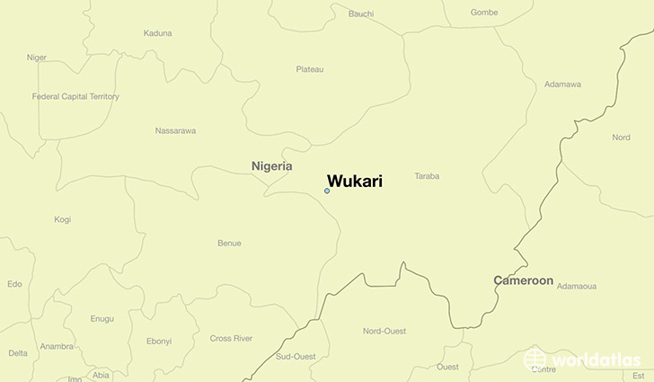 map showing the location of Wukari