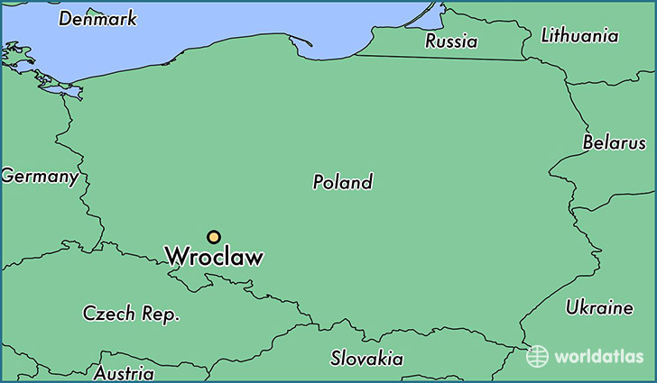 map showing the location of Wroclaw