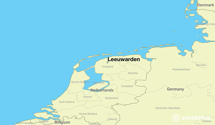 map showing the location of Leeuwarden