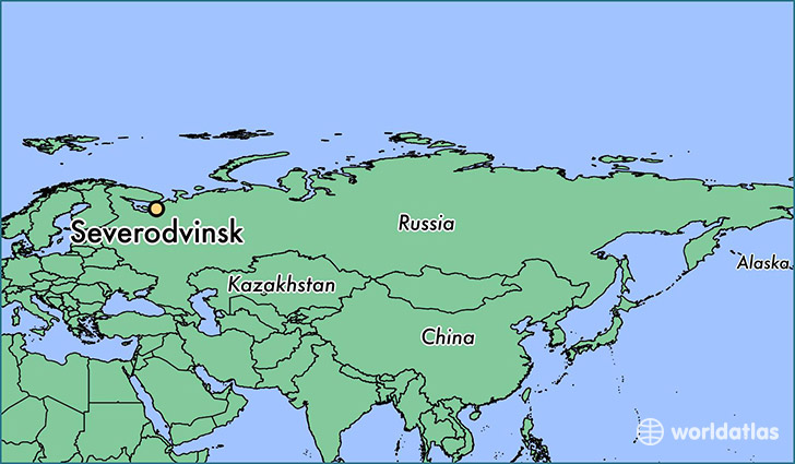 map showing the location of Severodvinsk