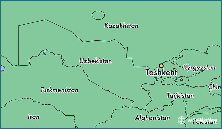 map showing the location of Tashkent