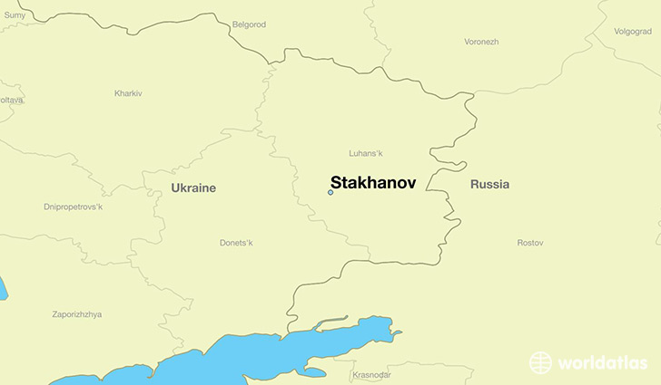 map showing the location of Stakhanov