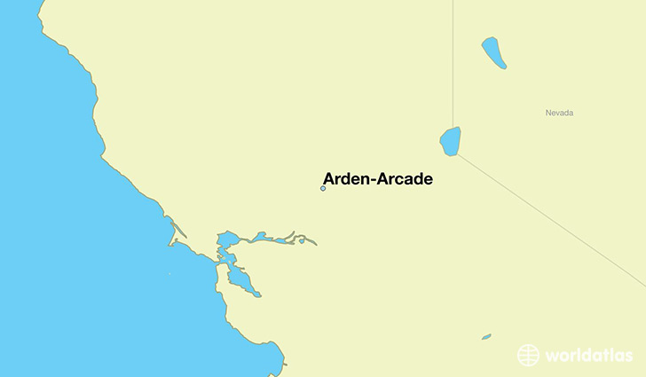 map showing the location of Arden-Arcade