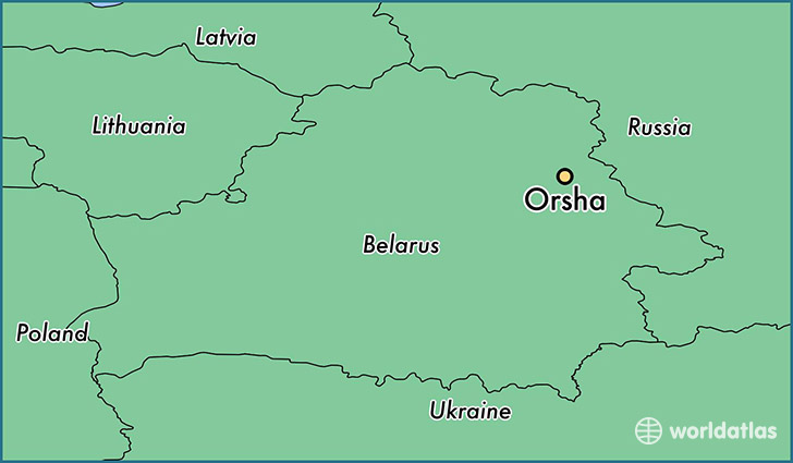 map showing the location of Orsha