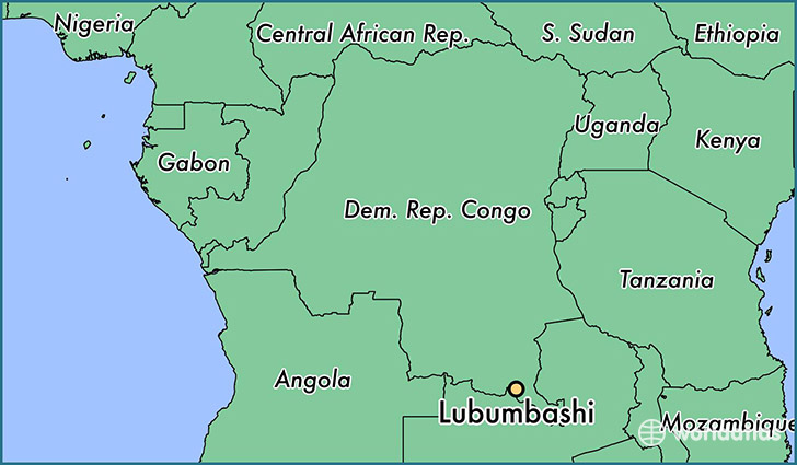 map showing the location of Lubumbashi