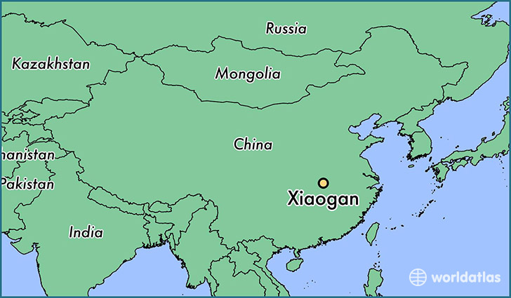 map showing the location of Xiaogan
