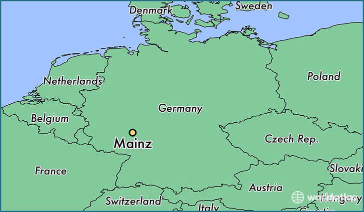 map showing the location of Mainz