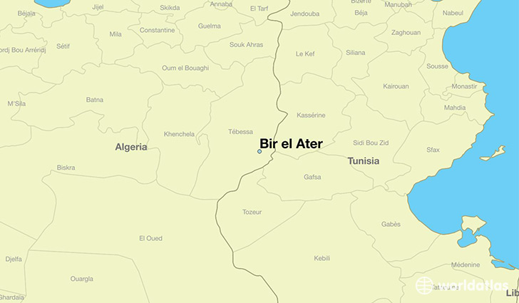 Where is Bir el Ater Algeria Bir el Ater Tebessa Map