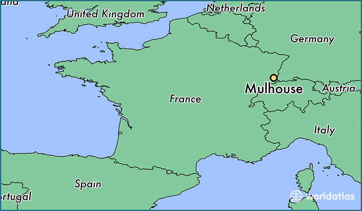 map showing the location of Mulhouse