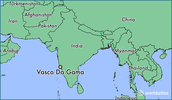 map showing the location of Vasco Da Gama