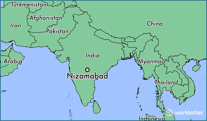 map showing the location of Nizamabad