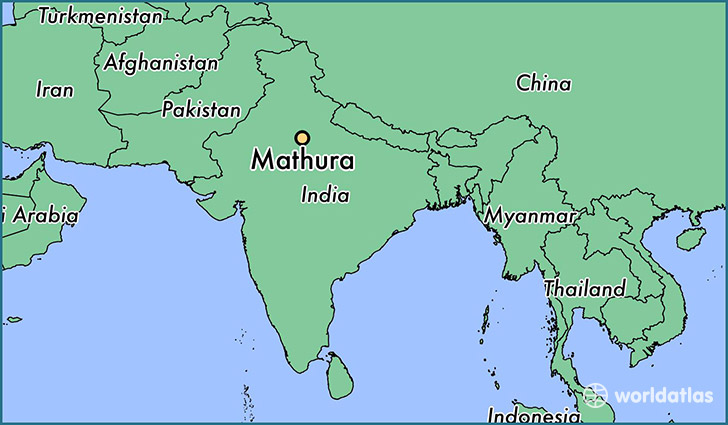 map showing the location of Mathura