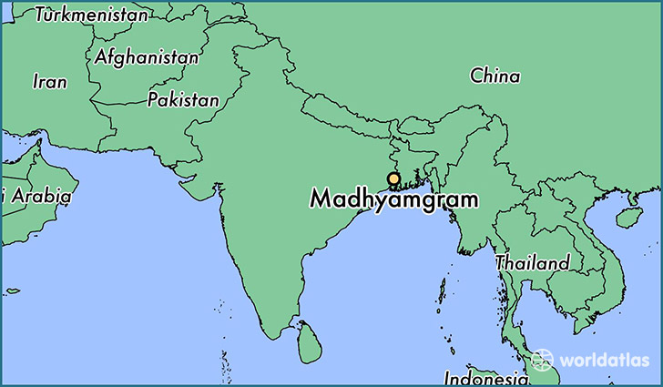 map showing the location of Madhyamgram