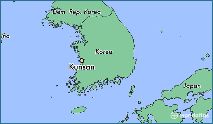 map showing the location of Kunsan