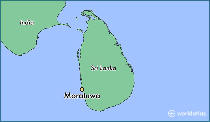 map showing the location of Moratuwa