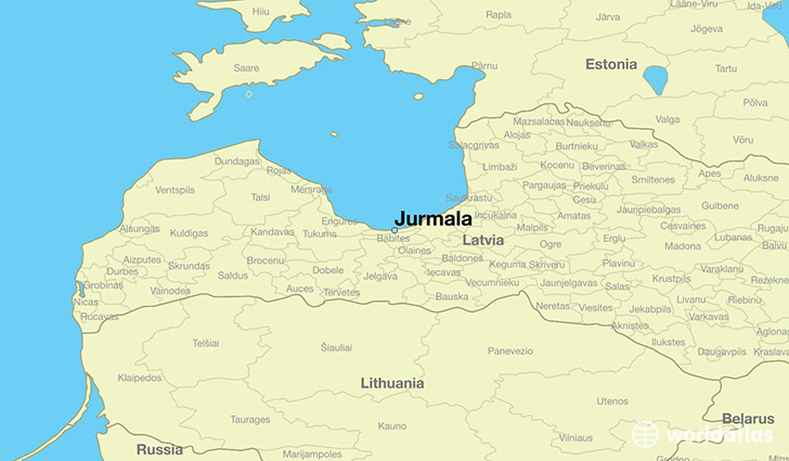map showing the location of Jurmala