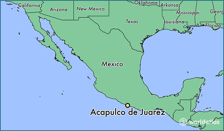 map showing the location of Acapulco de Juarez