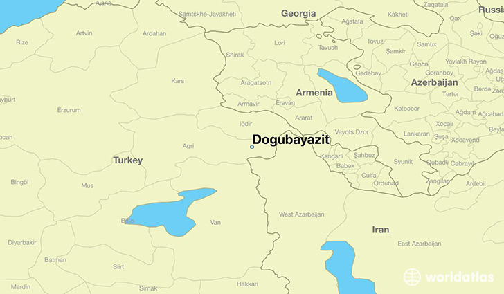 map showing the location of Dogubayazit