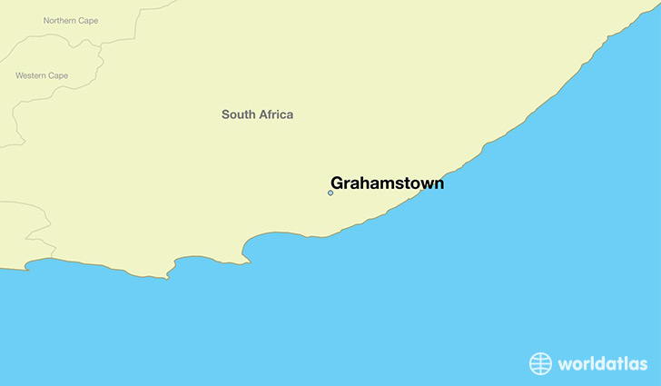 map showing the location of Grahamstown