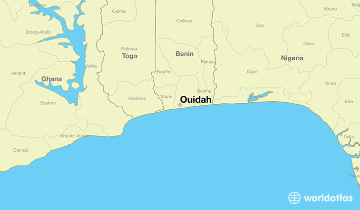map showing the location of Ouidah