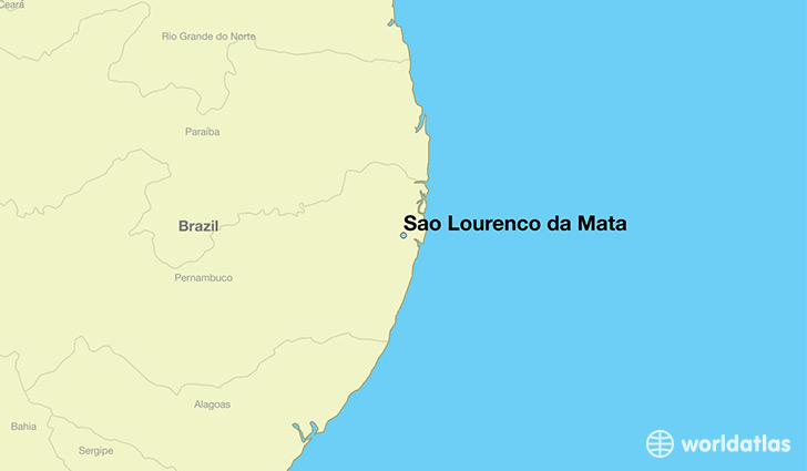 map showing the location of Sao Lourenco da Mata