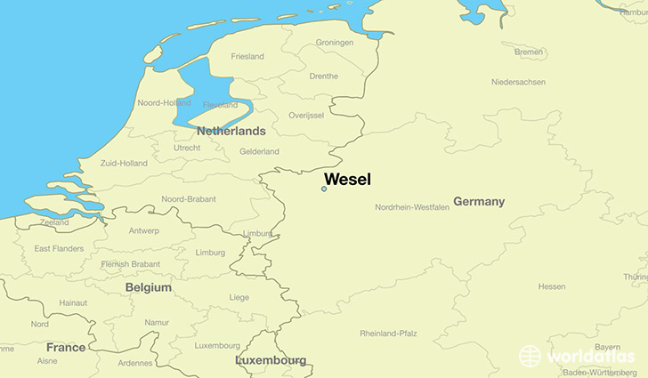 map showing the location of Wesel