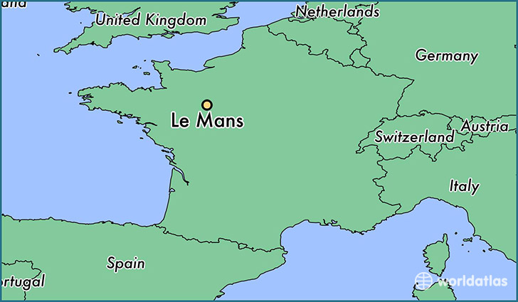 map showing the location of Le Mans