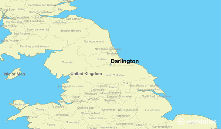 Where is darlington england darlington england map worldatlas map showing the location of darlington gumiabroncs Choice Image