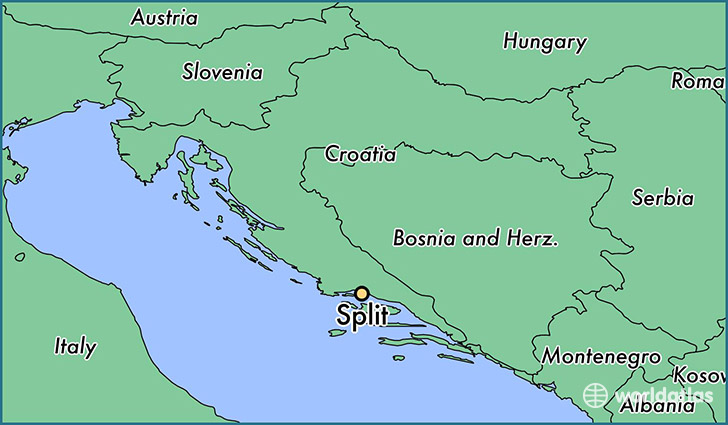 map showing the location of Split