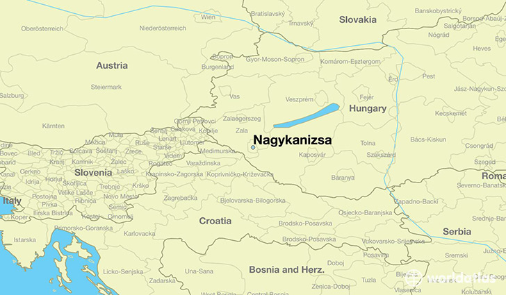 map showing the location of Nagykanizsa