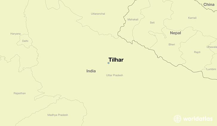 map showing the location of Tilhar